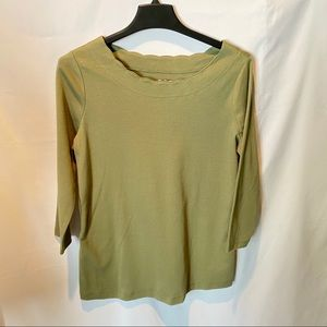 Kim Rogers Olive Scalloped Neck Top PS NWT